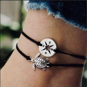 Turtle & Compass string anklet set